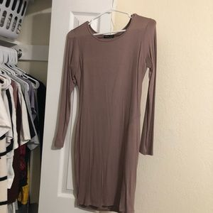 Taupe dress with split